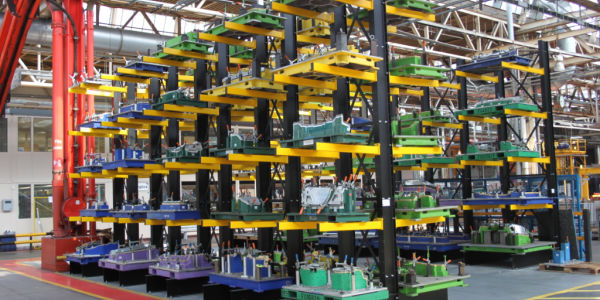 jigs on cantilever racking system