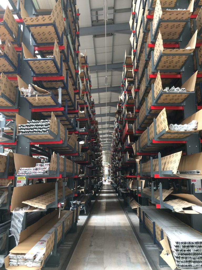 Cantilever Racks in a warehouse