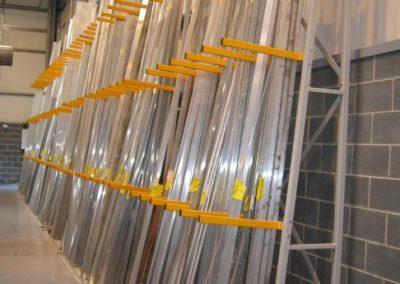 Aluminium extrusion in vertical rack