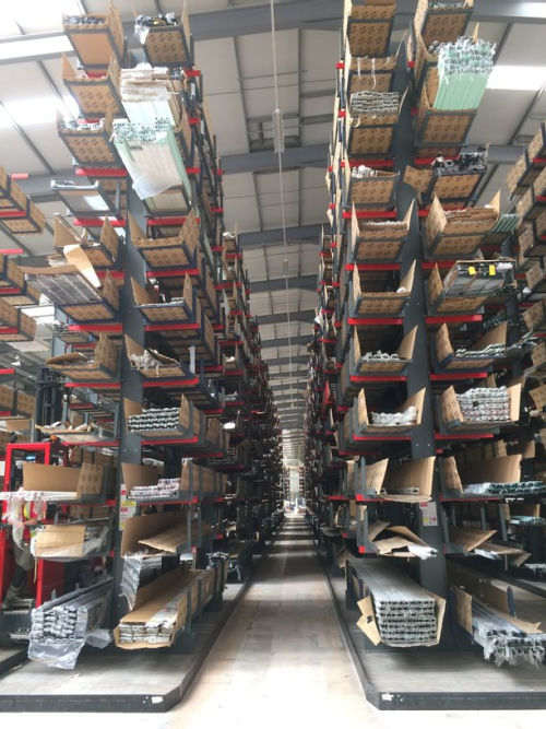 Extrusion on cantilever racking