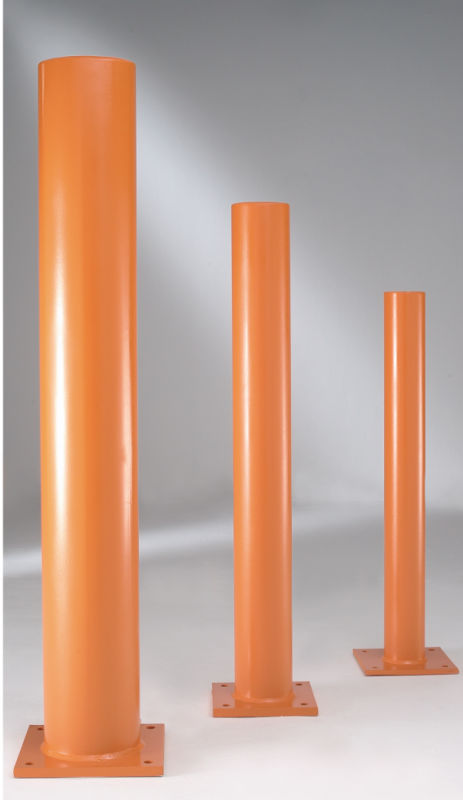 A range of steel bollards, finished in high visibility orange