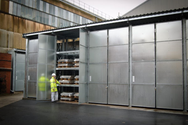 enclosed heavy duty racking storage system with sheet steel leaf doors