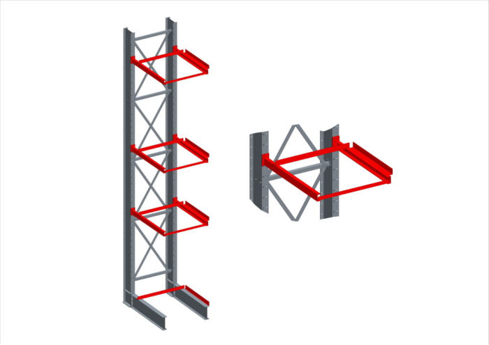 two cantilever racks for timber storage, both with canopies