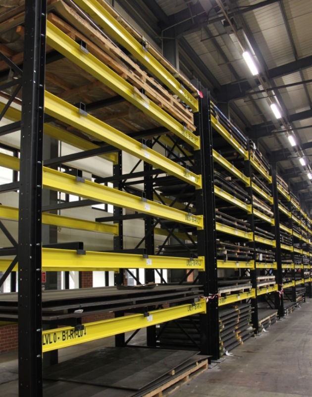 heavy duty racking stocked with sheet metal