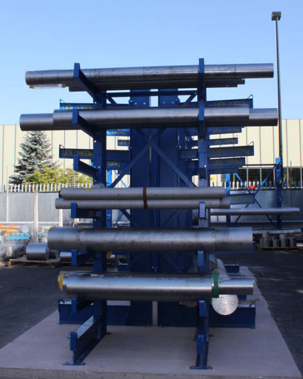 steel bars on cantilever racking