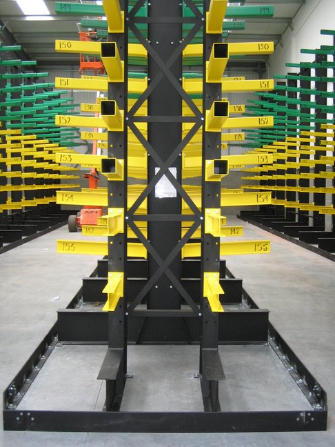 cantilever racking with a guide rail system