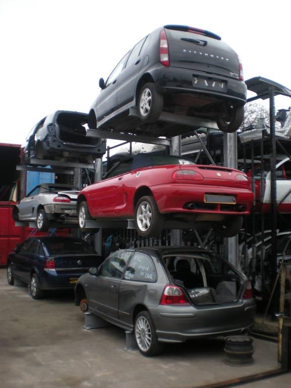 three storage level car racking
