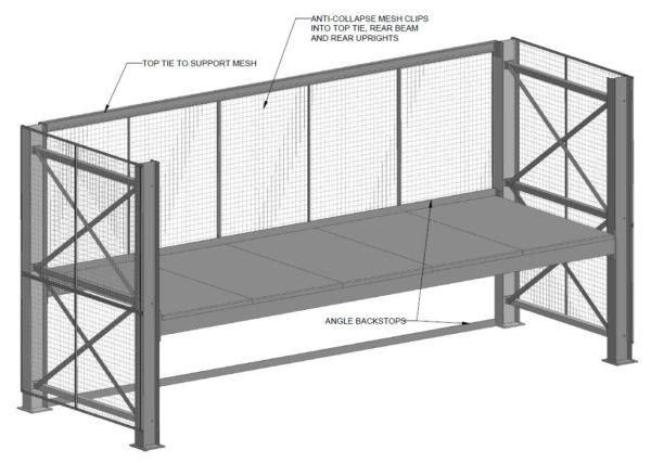 Drawing of Racking with anti-collapse mesh