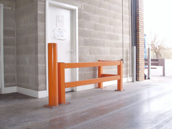 safety barrier and a bollard at an industrial site