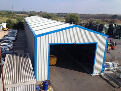 Rack clad building - areal view