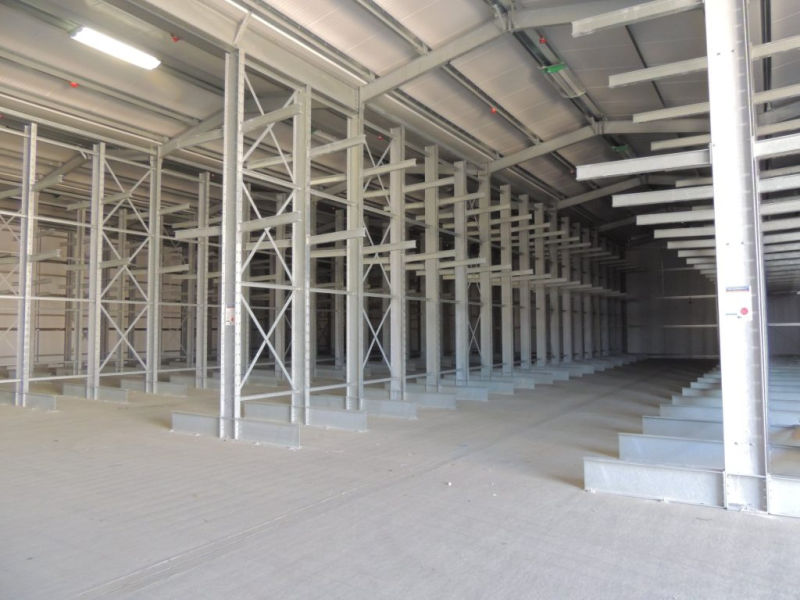 completed rack clad building with cantilever racking. View from the inside of the building