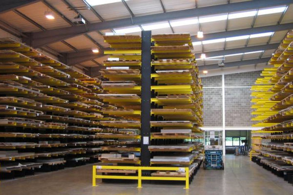Cantilever racking with sheet metal