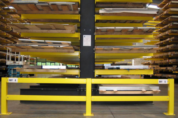 close up of cantilever racking with sheet metal