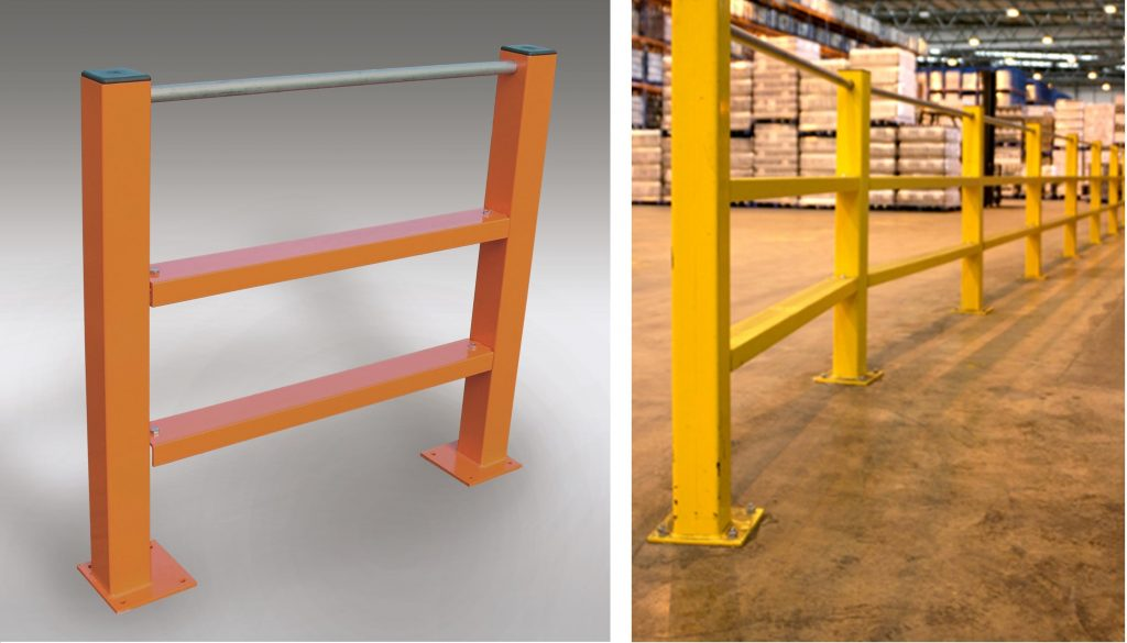 double channel safety barrier with handrail