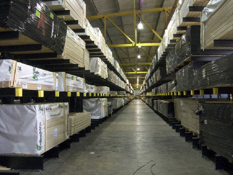 large timber storage warehouse with cantilever racks