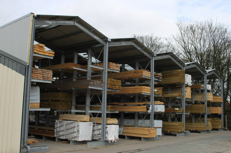 large timber storage with cantilever racks, roof, rainwater goods and cladding