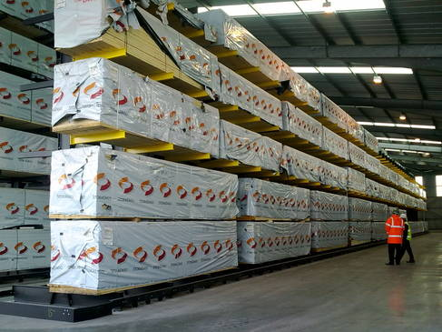 timber packs on a cantilever racking