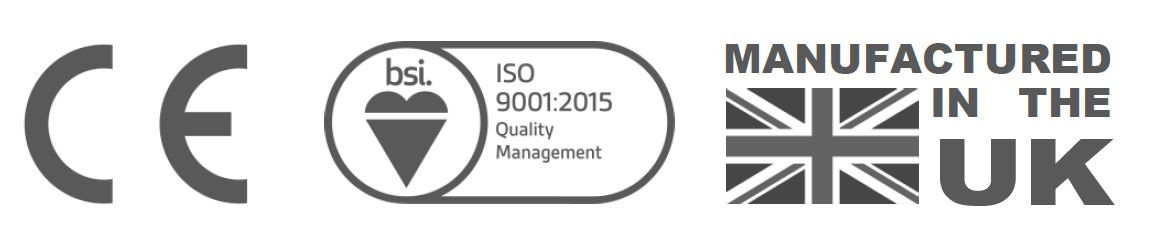 Wickens accreditations logos: ogos of CE mark, BSI and Manufactured in the UK