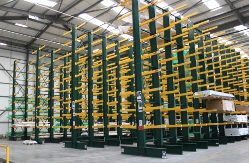 Black double-sided cantilever racking with 9 storage levels and yellow arms
