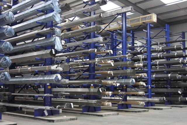 cantilever racks storing bar and tube for automotive component manufacturing